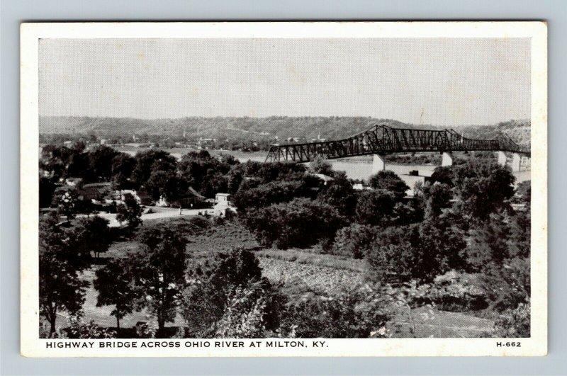 Milton KY- Kentucky, Scenic View Highway Bridge Over Ohio River, Chrome Postcard