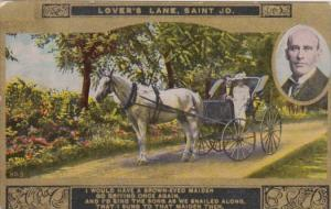 Romantic Couple In Carriage Lover's Lane Saint Jo Card No 3