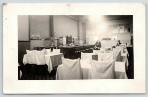 RPPC Get Oysters in Cafe~Coffee Pot~White Tablecloths~Chairs Draped, Too~c1910