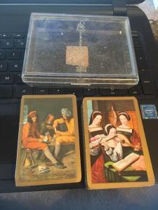 Vtg Piatnik Double Deck Playing Cards, renaissance Madrigal? design w/ Case