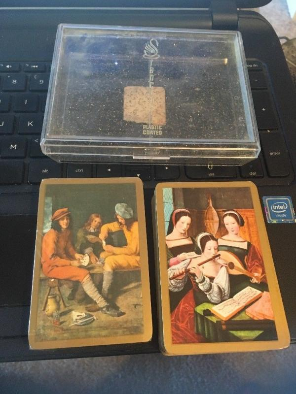 Vtg Piatnik Double Deck Playing Cards, renaissance Madrigal? design w/ Case