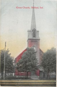 F93/ Milford Indiana Postcard 1909 Grace Church Building