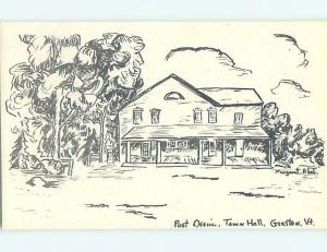 Pre-1980 artist signed TOWN HALL & POST OFFICE SCENE Graftee Vermont VT hs0962