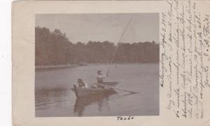 RP: HELSINGBORG , Sweden, 1907 ; Man Fishing w/ dog in boat