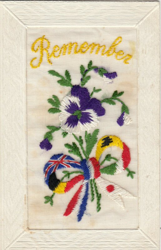 EMBROIDERED, 1900-10s; Remember , Allied Flags Ribbon