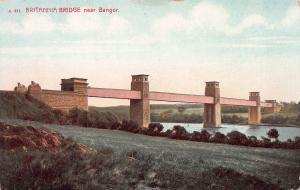 Britannia Bridge Near Bangor, Wales, Early Postcard, Unused