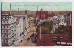 P1081 birds eye view hartford conn street scene trollies people buildings etc