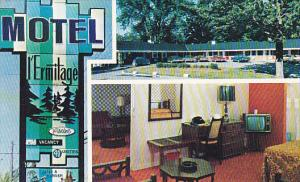 Exterior and Interior view,  Motel L'Ermitage,  Sherbrooke,  Quebec,  Canada,...