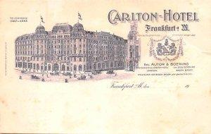 Carlton Hotel Frankfurt Germany Writing on back