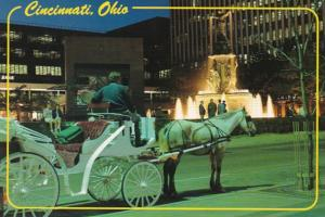 Ohio Cincinnati Fountain Square With Horse and Carriage