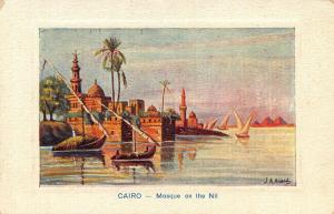 Egypt Cairo Mosque on The Nil Harbour Boats Postcard
