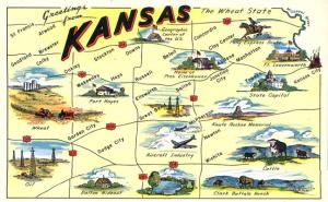 Greetings From Kansas - Map of the Wheat State