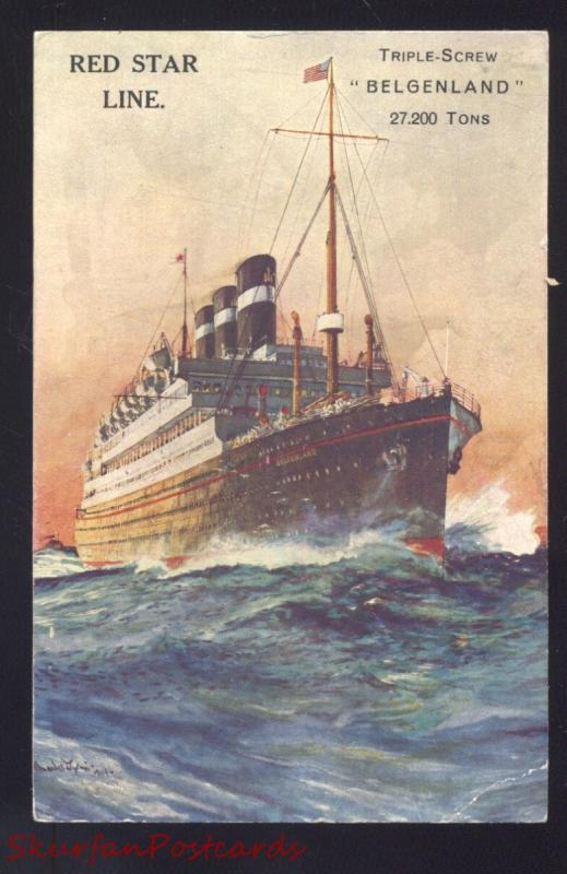 RED STAR LINE TRIPLE SCREW BELGENLAND ANTIQUE VINTAGE CRUISE SHIP POSTCARD