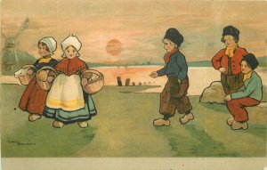 Arts Crafts C-1910 Ethel Parkinson Dutch Children artist Postcard 20-13110