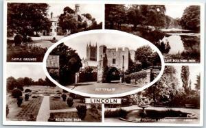 Vintage LINCOLN England RPPC Photo Postcard Multi-View Pottergate Castle Unused