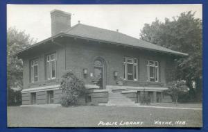 Wayne Nebraska ne Public Library old real photo postcard RPPC