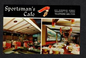 BC Sportsman's Cafe VANCOUVER BRITISH COLUMBIA Postcard