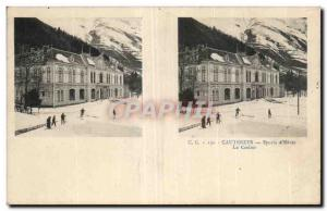 Stereoscopic Card - Cauterets - Winter Sports -The Casino - Old Postcard