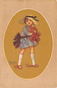 Artist Signed~Little Girl With Berry Basket~Straw Hat~Tan Brown Oval~Rev Stampa