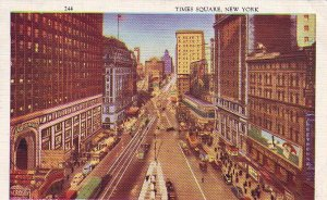 P1282 1937 used postcard busy view time square new york city