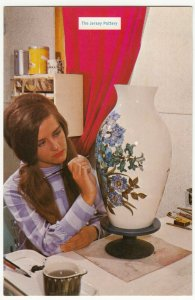 Studio Pottery; The Jersey Pottery, Shows Artist With Vase PPC Unused, c 1970's