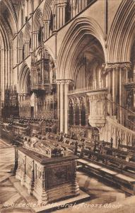 uk348 worcester cathedral across choir real photo uk