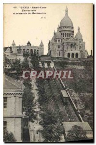 Postcard Old Paris Sacre Coeur Montmartre Funicular and reservoir