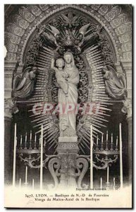 Lyon Postcard Old Basilica of ND Fourviere Virgin of the high altar of the ba...