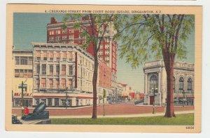 P2244, 1949 postcard chenango st. from court house sq binghampton ny
