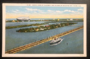Mint Zeppelin Aerial View Of Causeway Islands Of Biscayne USA Picture Postcard