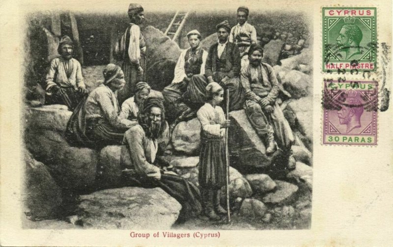 cyprus, Group of Villagers (1922) Postcard