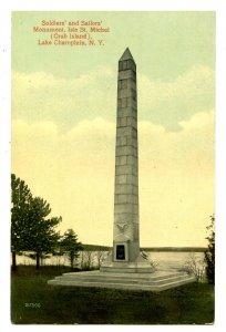 NY - Lake Champlain. Crab Island, Isle St Michel Soldiers' & Sailors' Monument
