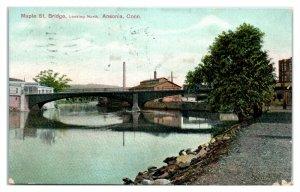 1910 Maple Street Bridge looking North, Ansonia, CT Postcard *6I1