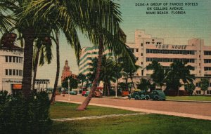 Vintage Postcard 1930's Group of Famous Hotels on Collins Avenue Miami Beach FL