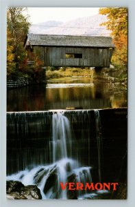 Warren VT- Vermont, Warren Bridge, Mad River, Dam, Waterfall, Chrome Postcard
