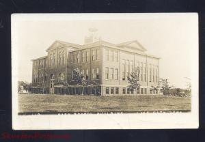 RPPC LAKE CITY IOWA HIGH SCHOOL BUILDING VINTAGE REAL PHOTO POSTCARD 1919