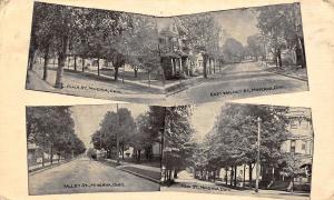 Minerva Ohio~Four Streets: Plain~E Walnut~Valley & Main St 1913 B&W Postcard