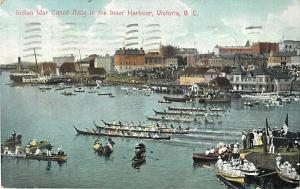 Indian War Canoe Race in the Inner Harbor Victoria BC 1908
