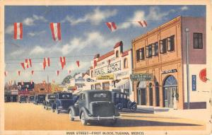 Tijuana Mexico Main Street First Block Linen Antique Postcard K12079