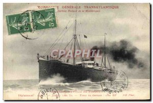 Old Postcard Boat Ship Station City of Madrid