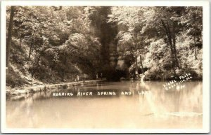 Cassville, MO RPPC Postcard Roaring River Spring and Lake Fields Photo 1944