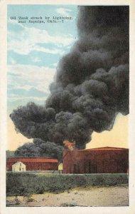 Oil Tank struck by Lightning, near Sapulpa, Oklahoma c1920s Vintage Postcard