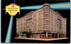 Vintage Richmond Indiana Linen Postcard THE WESTCOTT HOTEL Street View 1946