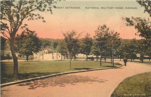National Military Home Kansas~Veterans Walking~West Entrance~1910 Handcolored