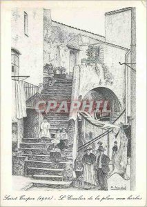 Postcard Moderne Saint Tropez Belle Epoque The Staircase of the Place aux Herbes