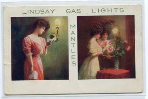 Lindsay Gas Lights Mantles Advertising 1909 postcard