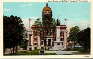 Pennsylvania Mercer Court House and Soldiers Monument Curteich