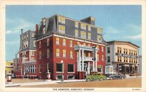 Newport Vermont birds eye view The Newport hotel linen antique pc Y15734