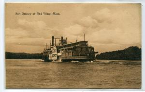 Steamer Quincy Mississippi River Red Wing Minnesota 1910c postcard