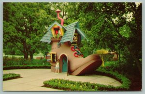 Oakland California~Children's Fairyland~Old Woman Peeks from Shoe~Kids Play~'50s